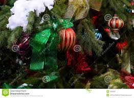 tree ornaments on outdoor tree royalty free stock photo