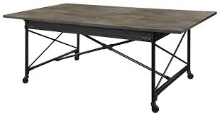 luxury walton rectangular dining table with casters rustic metal