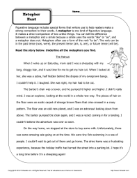 metaphor meanings figurative language worksheets