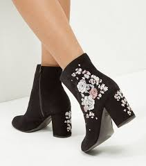 womens boots block heel wide fit black suedette embroidered block heel boots block heels