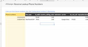 I Need A Spreadsheet Template Reverse Lookup A List Of Phone Numbers Spreadsheet Template In