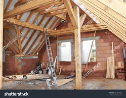 Frame House Building Attic Interior Roofing Construction Indoor Stock Photo
