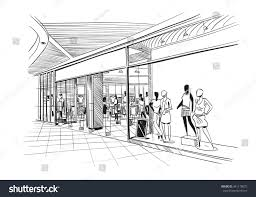 fashion store hand drawn sketch interior stock vector 441178072