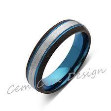 Tungsten Comfort Fit Wedding Bands Blue Tungsten Wedding Band Gray Brushed Tungsten Ring 6mm