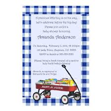 build a library baby shower invitation red wagon with books