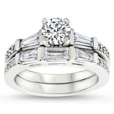 rings wedding set images Tapered baguette diamond set engagement ring and wedding band jpg