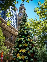 photos of christmas decorations from the sydney cbd in australia