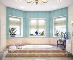 blue and beige bathroom sunken tub mosaic tiles and window alcove window seat would be