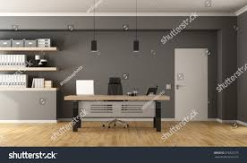 contemporary office minimalist deskclosed door shelves stock