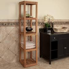 Bathroom Tower Shelves Five Tiered Teak Towel Tower Bathroom