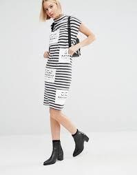 cheap monday long denim shirt with pocket cheap monday stripe