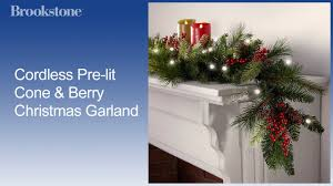 cordless pre lit cone berry garland