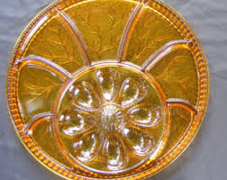 carnival glass egg plate egg and relish dish etsy