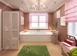 children u0027s bathroom art deco design 3d render stock photo