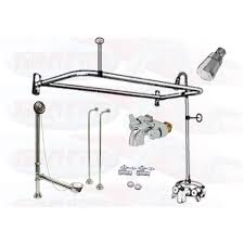 chrome clawfoot tub faucet add a shower kit w d ring curtain rod