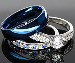 blue steel rings images His and hers 925 sterling silver blue saphire jpg
