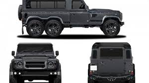 land rover defender 2015 black kahn design reveals six wheeled land rover defender for geneva