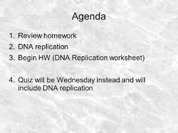 Dna Structure Worksheet Agenda Review Homework Dna Replication Ppt Download