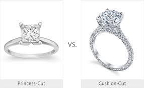 Engagement Ring Vs Wedding Ring by Princess Cut Ring Vs Cushion Cut Ring Weddingmadness