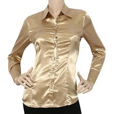 shirts and blouses iron puppy satin charmeuse l slv button solid collar