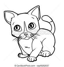 vectors cartoon cute cat coloring vector illustration