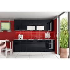 cuisine noir laqué cuisine équipée tara 260 cm noir laqué achat vente cuisine
