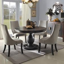grey griffin cutback upholstered dining chair along with dark wood