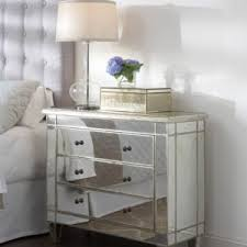 Silver Leaf Nightstand Inviting Bedroom Mirrored Nightstand Comes With Crocodile Skin And
