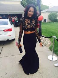 2 piece prom dresses 2016 high neck long sleeves prom gowns