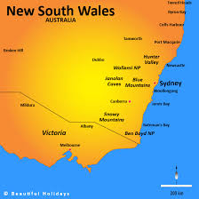 map of new south wales new south wales map showing attractions accommodation