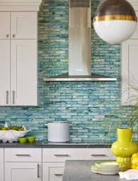 creative design blue backsplash tile green blue aqua subway glass
