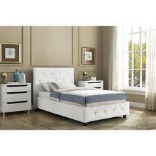 Leather Upholstered Bed Dhp Dakota Faux Leather Upholstered Bed White Full 029986402752 Ebay