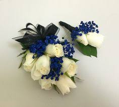 Corsages And Boutonnieres For Prom Wrist Corsage For Homecoming For Black Dress White And Blue