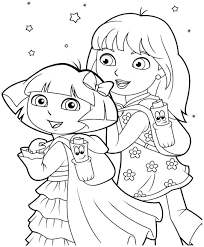 free printable cartoon dora the explorer and boots coloring sheets