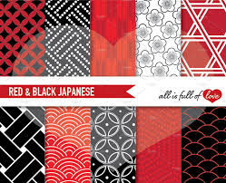 japanese patterns red u0026 black patterns creative market