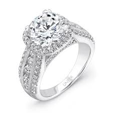wide band engagement rings uneek 1 carat diamond on cushion halo wide band engagement