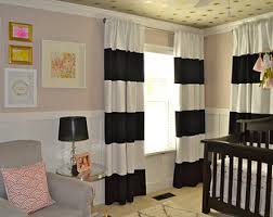 Black And White Stripe Curtains Striped Curtains Etsy