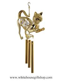 wind chimes or ornament gold crouching cat with wind chimes