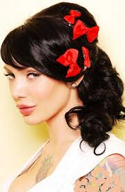 black pin up hairstyles pin up hairstyles with side bangs and bows for long curly hair