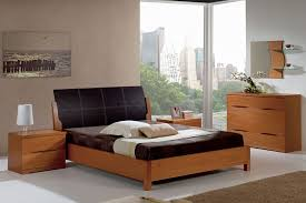 Bedroom Set With Leather Headboard Natural Wood Modern Bedroom Set With Black Leather Headboard