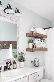 Medicine Cabinet Above Toilet Bathroom With Rustic Wood Shelving Above Toilet Country Bathroom