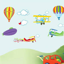 compare prices on 3d wall murals airplane online shopping buy low cartoon airplane and hot air balloons removable wall sticker vinyl decals for kids room boys