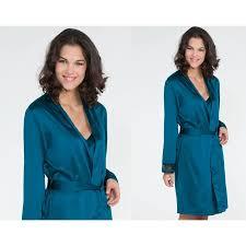 robe de chambre en satin robe de chambre satin pour femme becquet bleu becquet femme