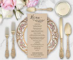 rustic wedding menu template diy wedding menu template wedding