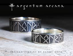 matching silver rune rings with custom message unique viking