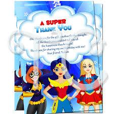 Superhero Invitation Card Dc Superhero Girls Personalized Thank You Cards Custom