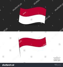 Red White Black Flag Illustration Waving Indonesia Flag On Black Stock Vector 310120109