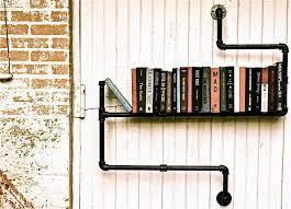 industrial pipe bookshelf creative furniture design black finish