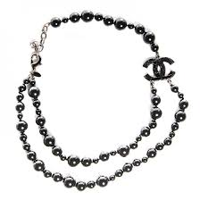 black glass necklace images Chanel glass bead cc map short necklace ruthenium black 91031 jpg