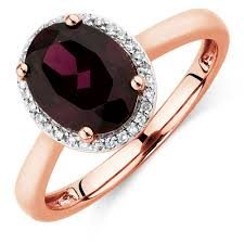 rose coloured rings images Ring with rhodolite garnet diamonds in 10ct rose gold jpg